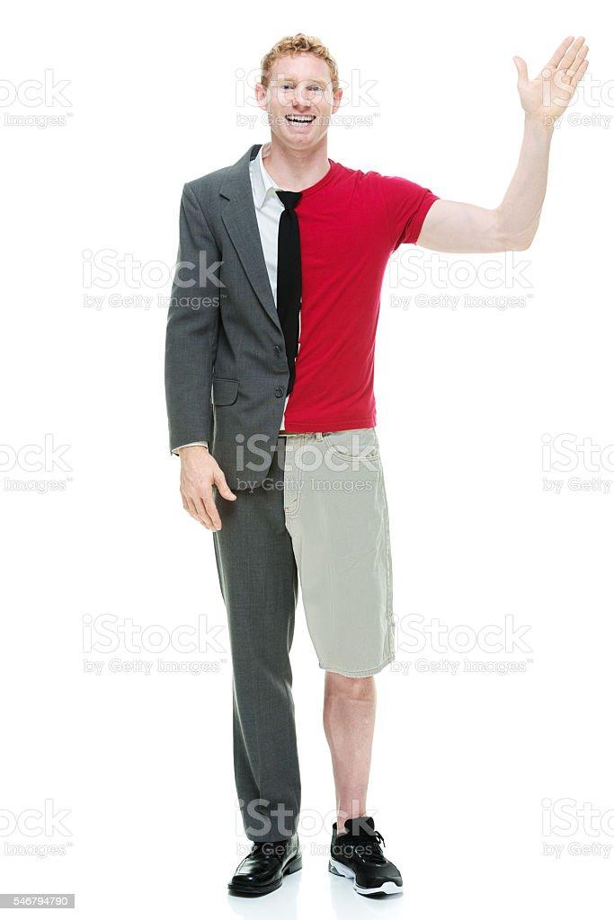 Half businessman / casual man waving hand stock photo
