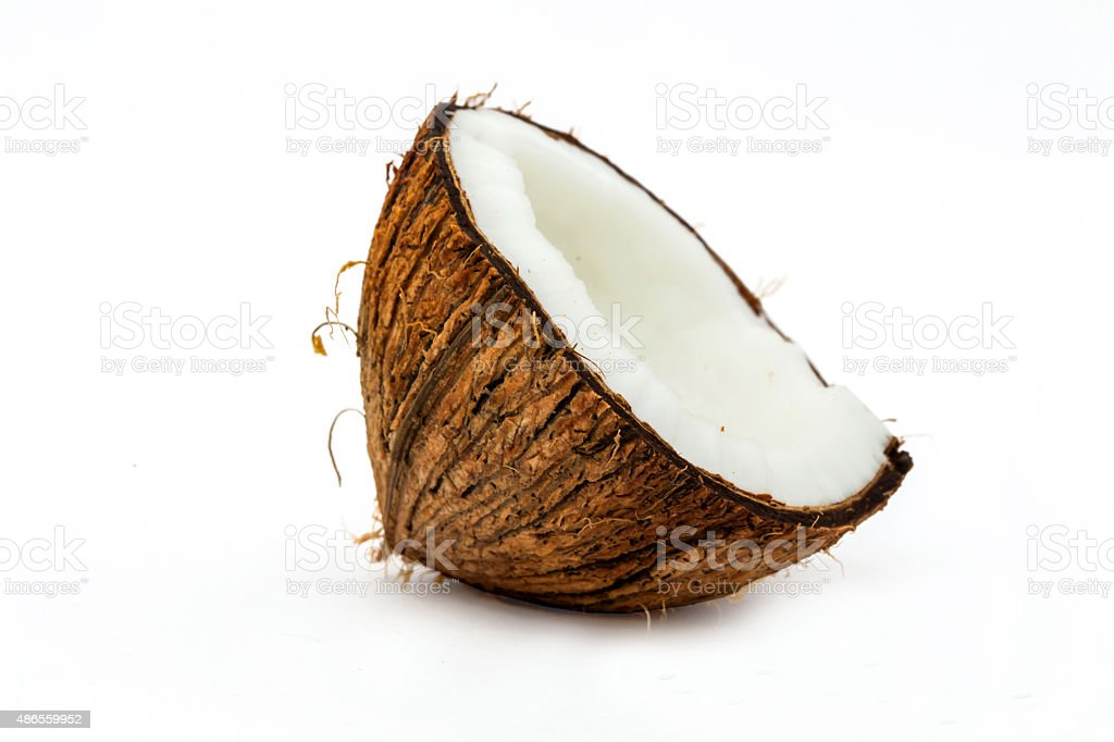 Half Coconut isolated on white stock photo