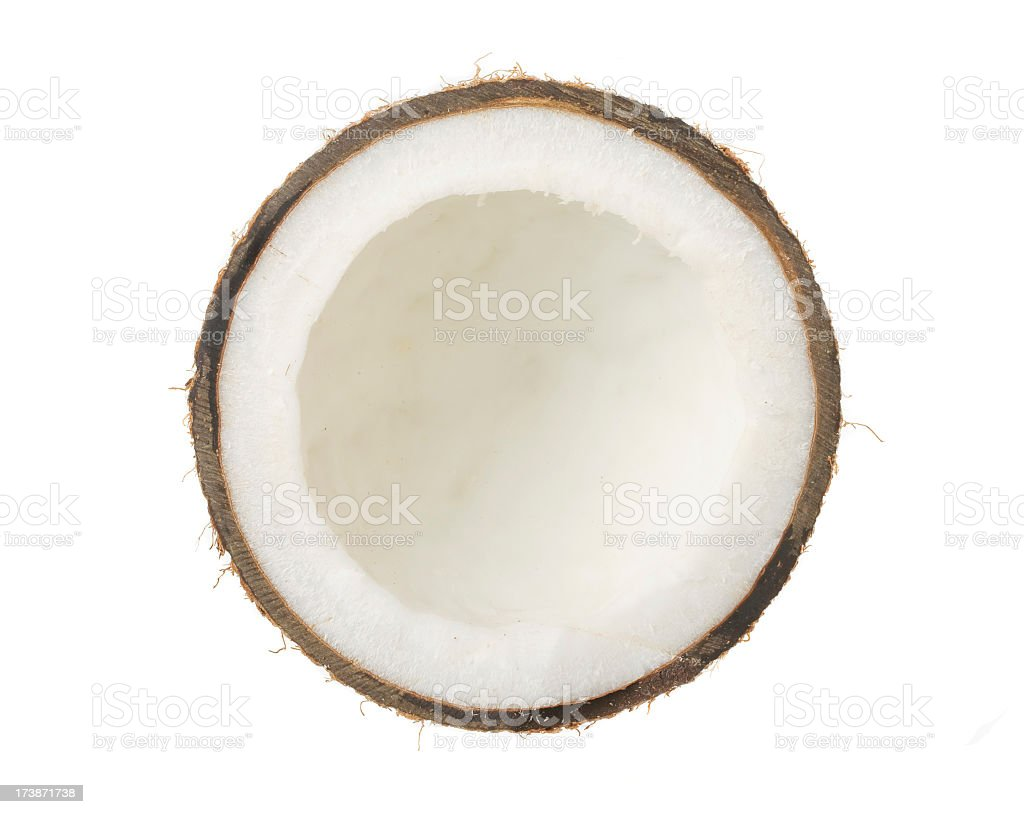 Half coconut on white background stock photo