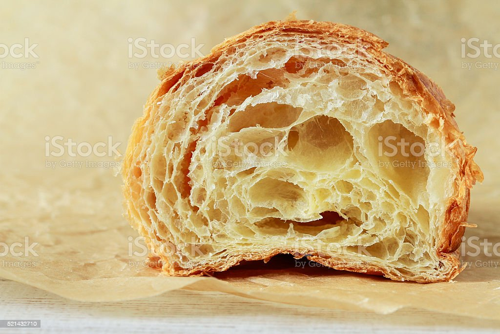 Half croissant in a section stock photo