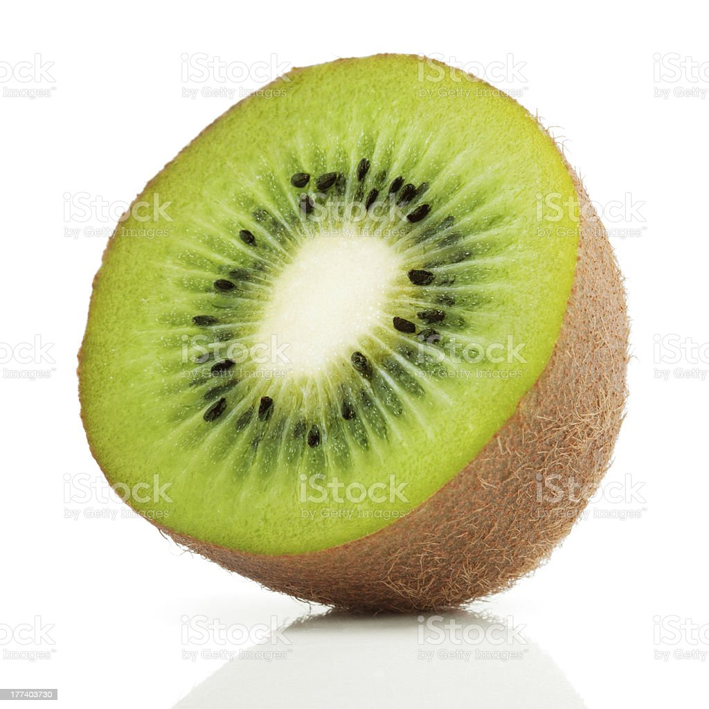 A half cut of a juicy kiwi fruit stock photo