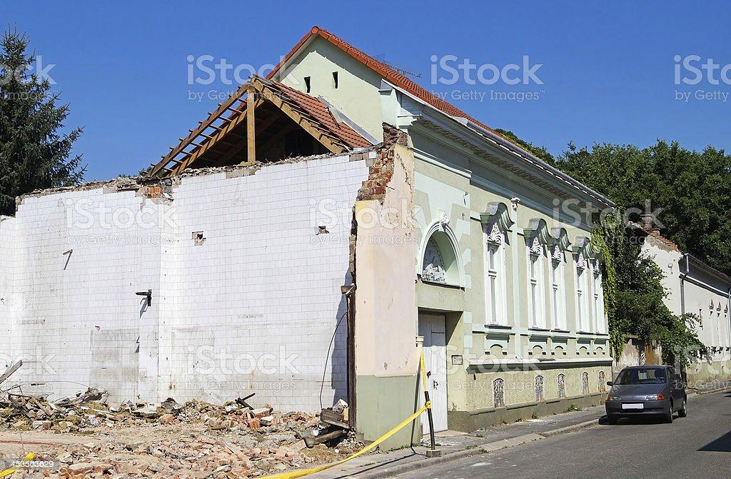 half demolished house royalty-free stock photo