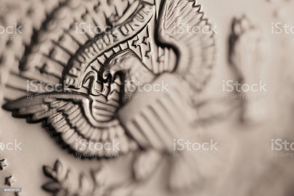 US half dollar detail stock photo