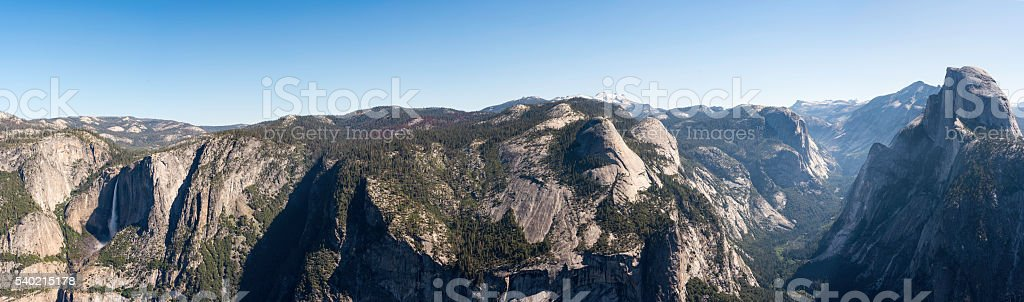 Half Dome and Yosemite Falls Panorama stock photo