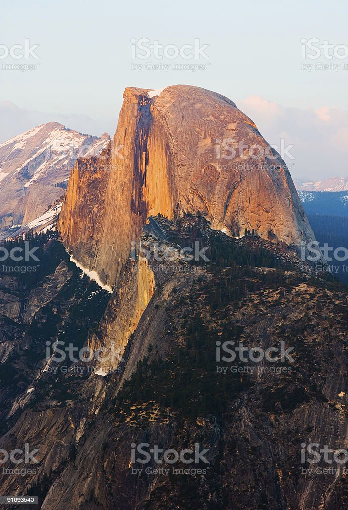 Half Dome at sunset in Yosemite stock photo
