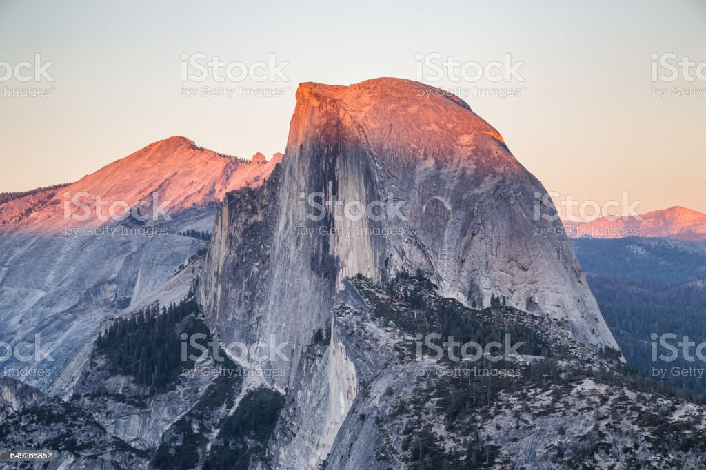 Half Dome at sunset, Yosemite National Park, California, USA stock photo