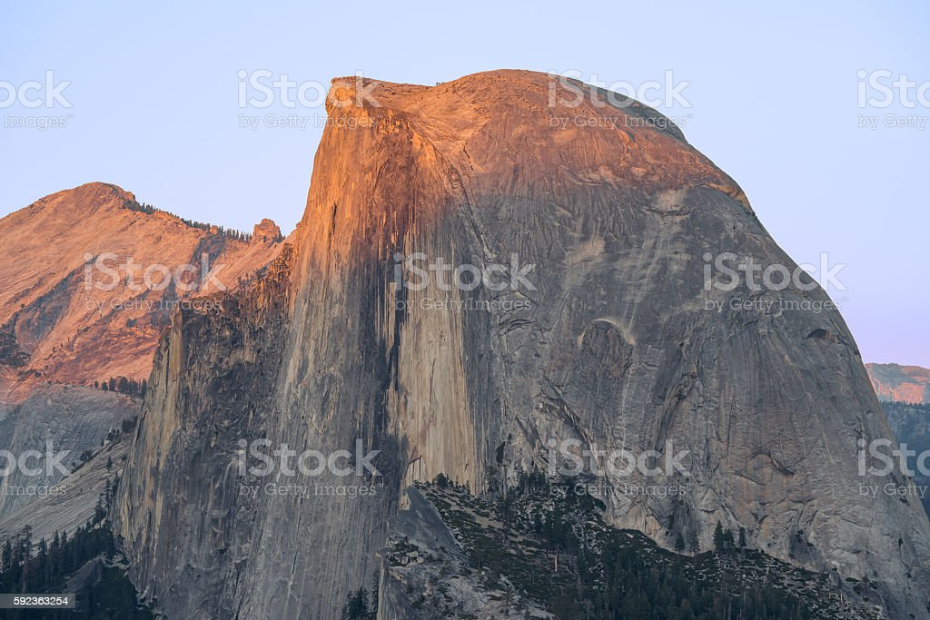 Half Dome, Clouds Rest, Sunset stock photo