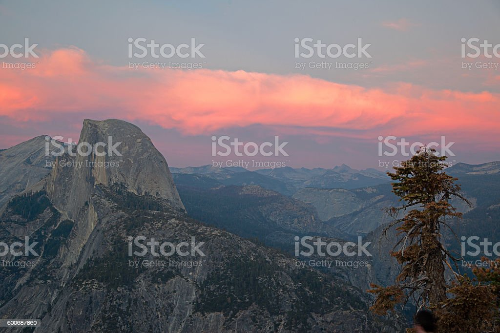 Half Dome in Yosemite at sunset seen from Glacier Point stock photo