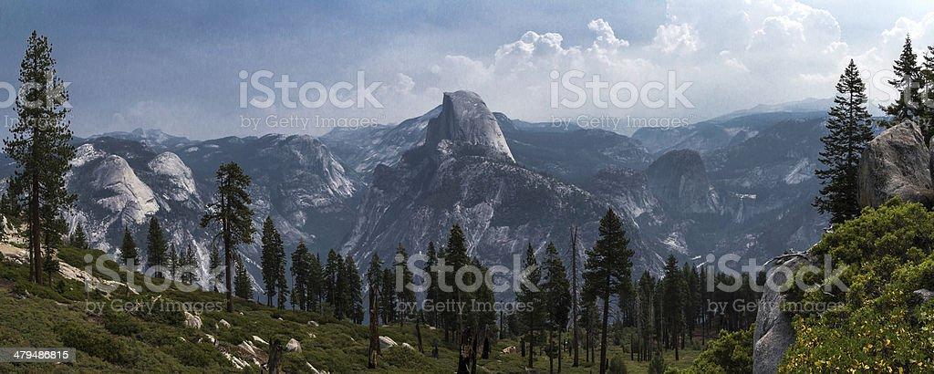 Half Dome Panorama stock photo