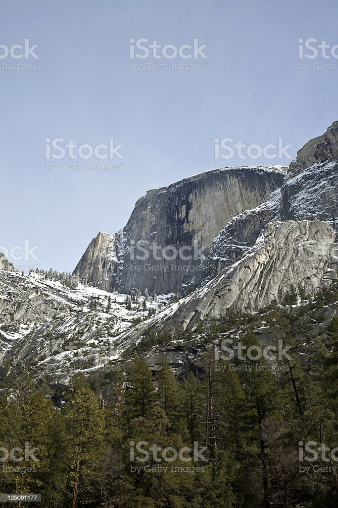 Half Dome seen from Mirror Lake Yosemite stock photo