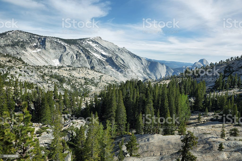 Half Dome seen from Tioga Pass stock photo