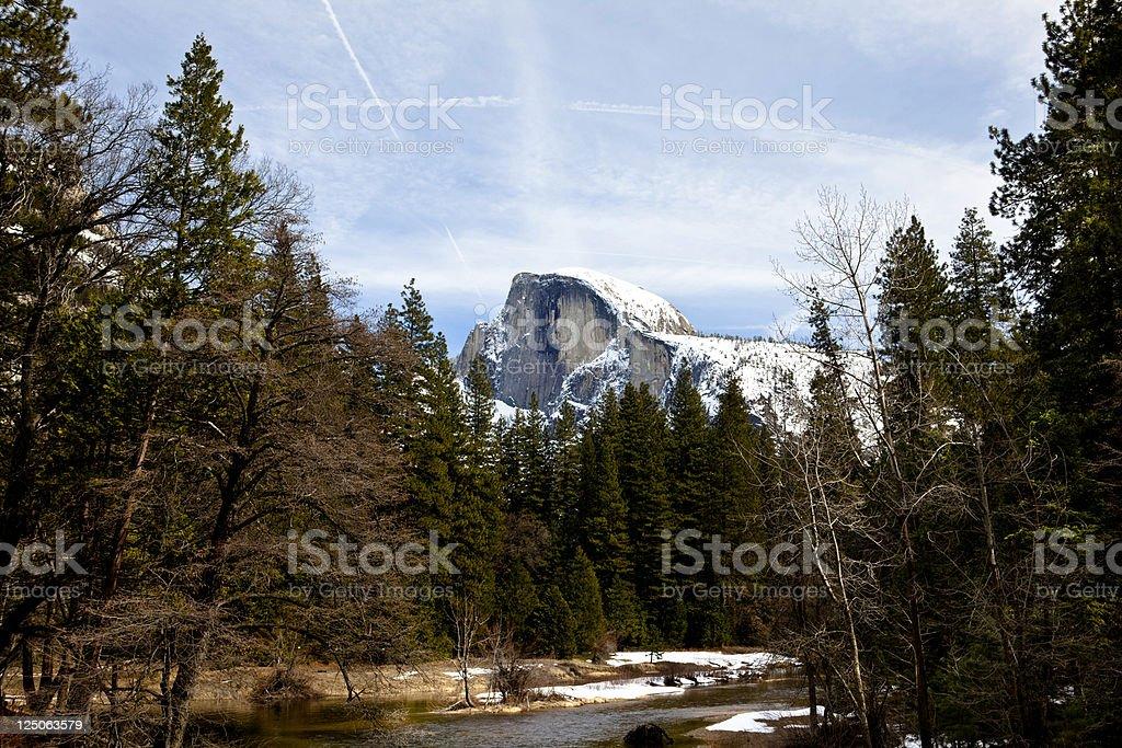 Half Dome seen from Yosemite Village stock photo