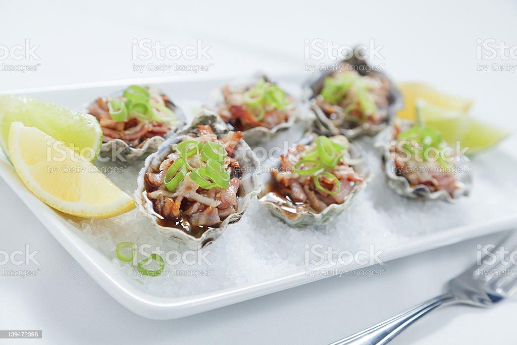 Half dozen oysters royalty-free stock photo