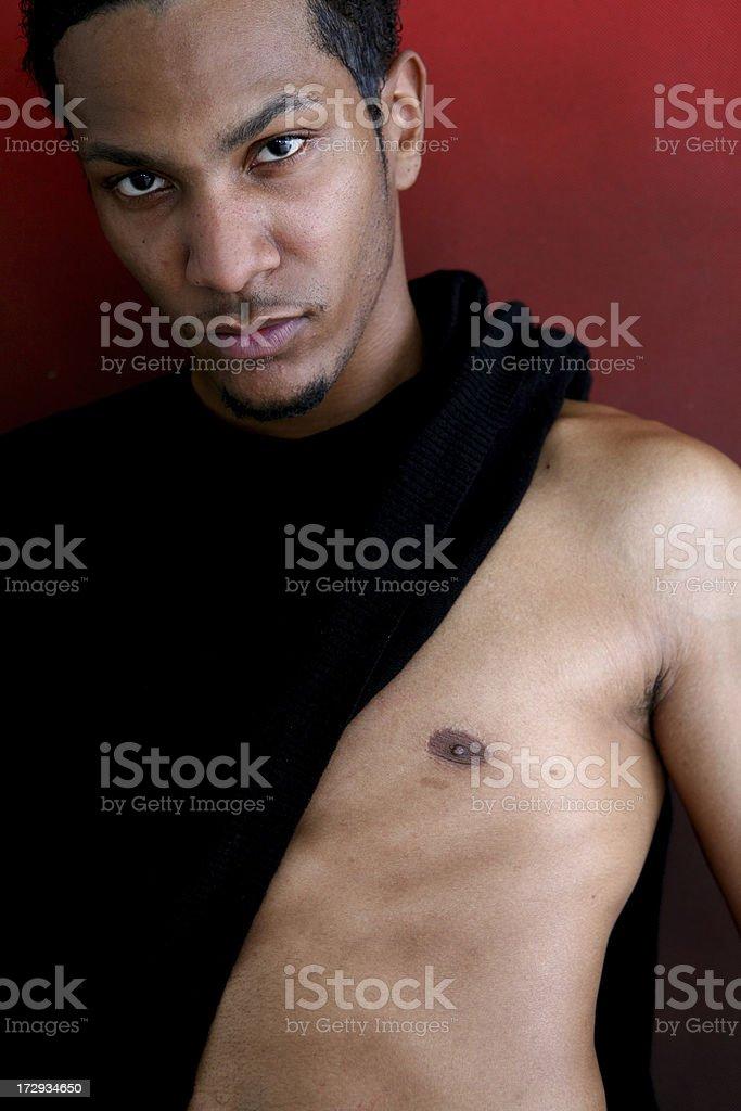 Half dressed man stock photo