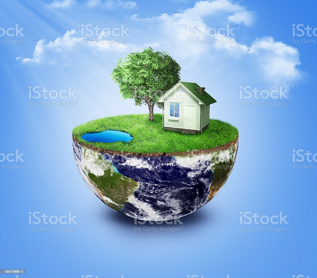 Half earth with green grass and landscape stock photo