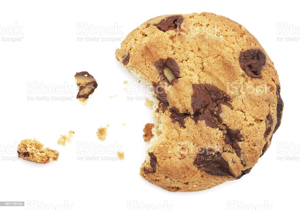 Half eaten chocolate chip cookie isolated on white stock photo