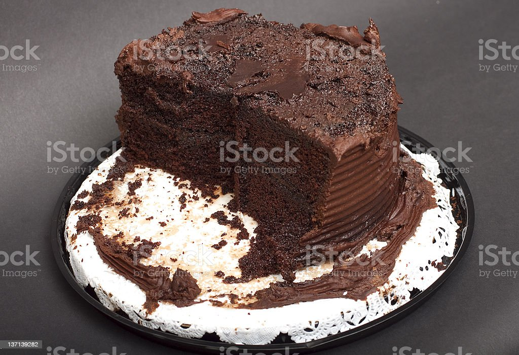 Half Eaten Chocolate Frosted Cake royalty-free stock photo