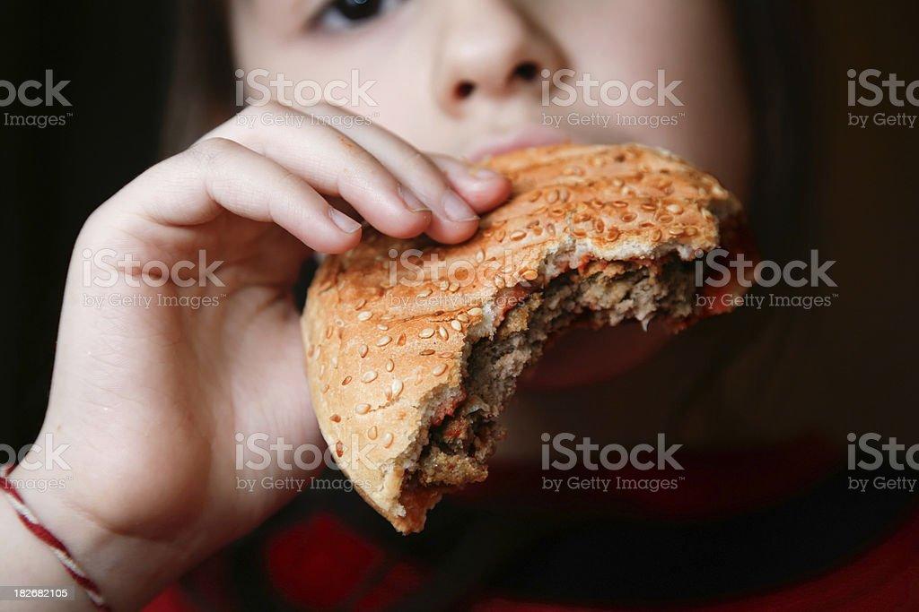 Half eaten hamburger royalty-free stock photo