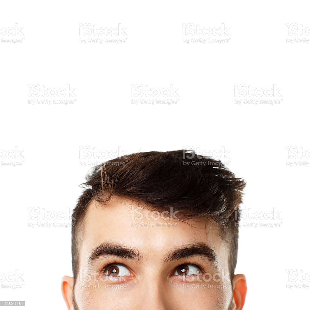 Half face expression looking on white stock photo