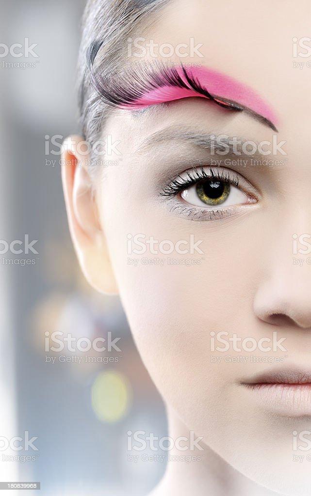 half face, fashion makeup royalty-free stock photo