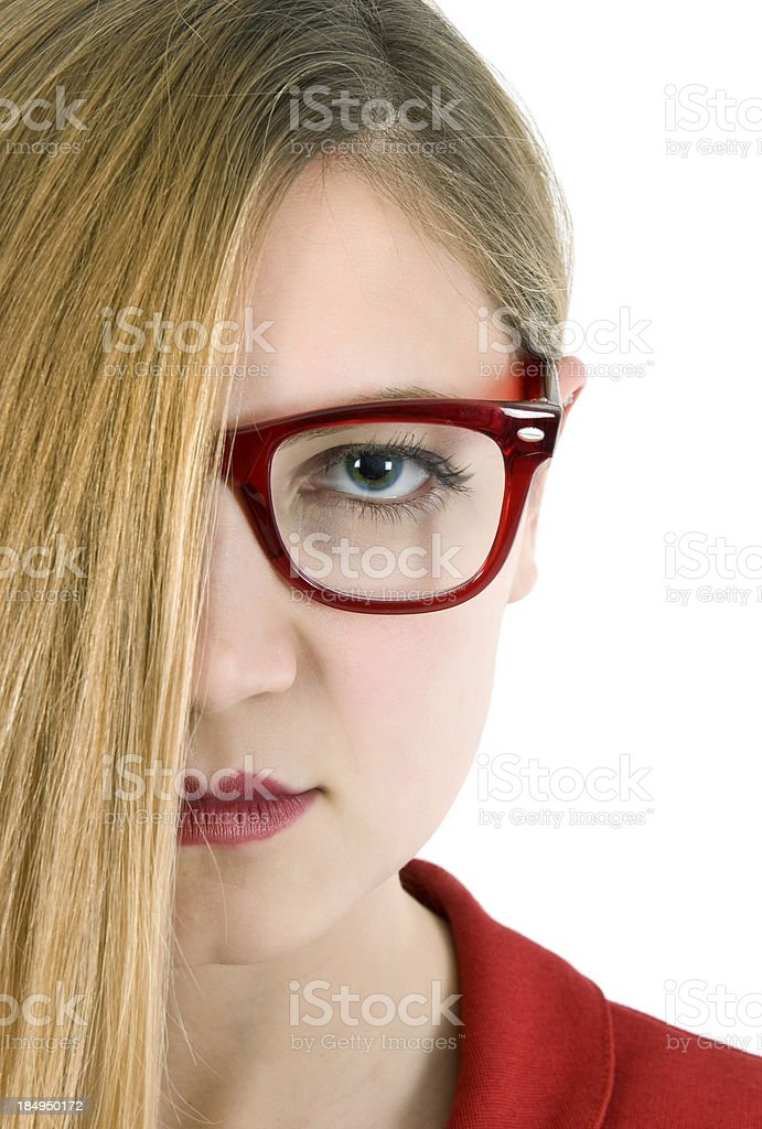 Half face of a serious woman royalty-free stock photo