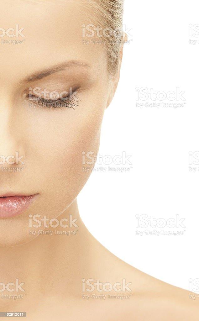 half face of beautiful woman stock photo