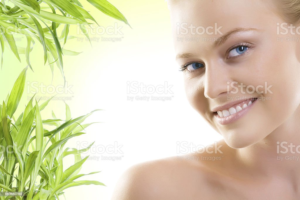 Half face of woman royalty-free stock photo