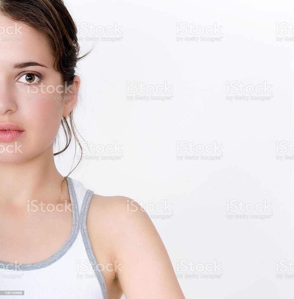Half Face of Young Woman stock photo