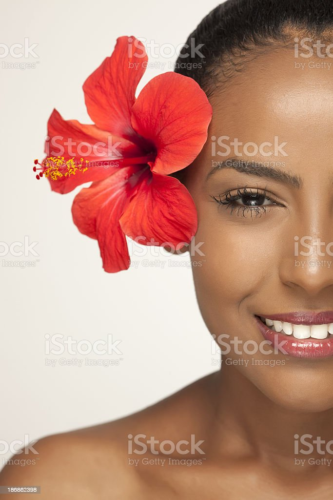 Half face portrait of a beautiful woman. royalty-free stock photo