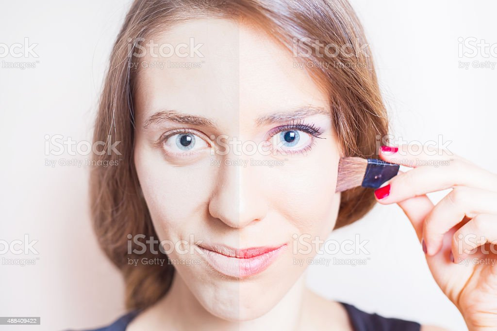 Half face women's makeup before and after processing stock photo