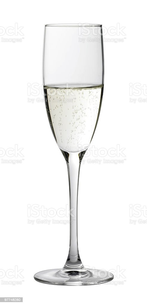 half filled champagne glass stock photo
