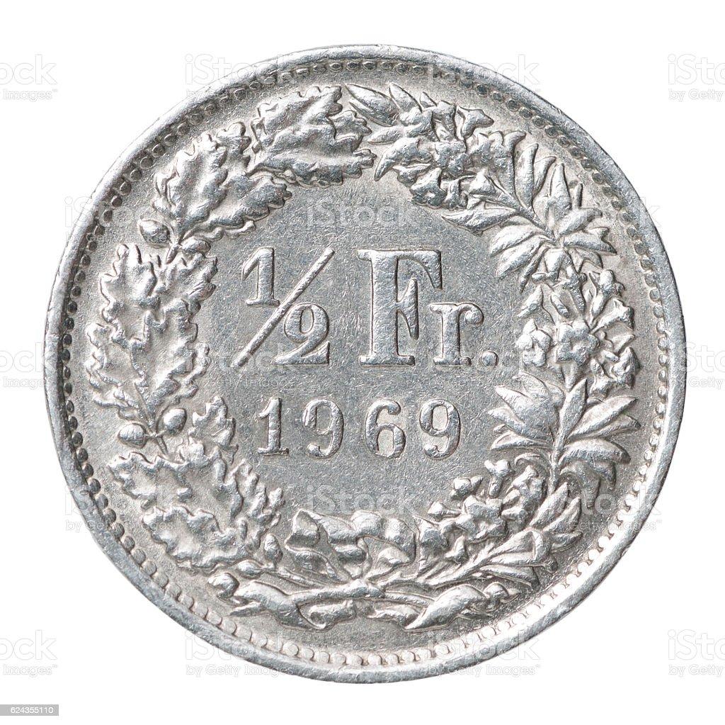 Half franc coin stock photo