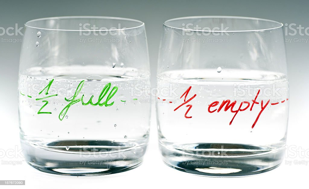 half full and empty stock photo