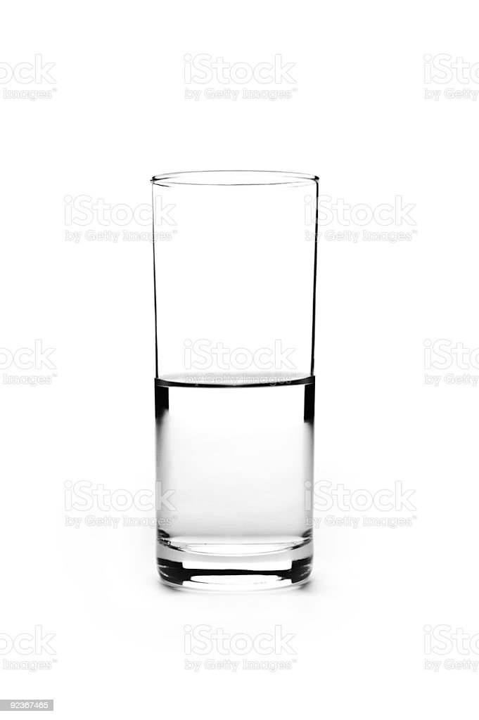 Half full glass stock photo