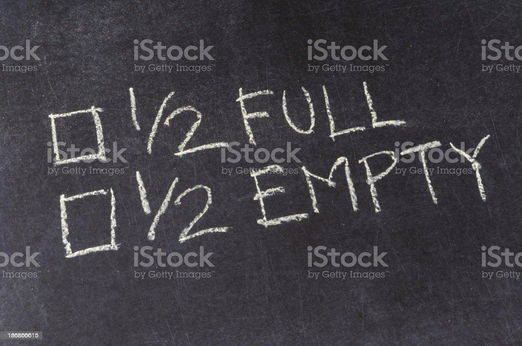Half Full or Half Empty Checkbox on Blackboard royalty-free stock photo