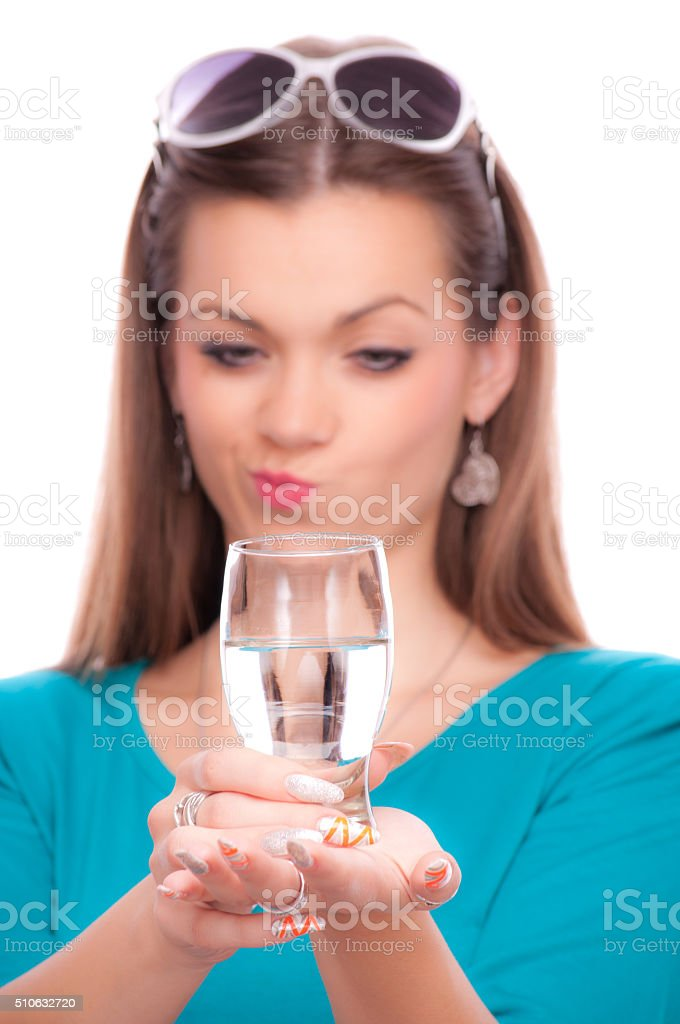 Half full or half empty glass stock photo