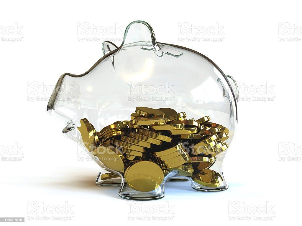 Half Full Piggy Bank royalty-free stock photo