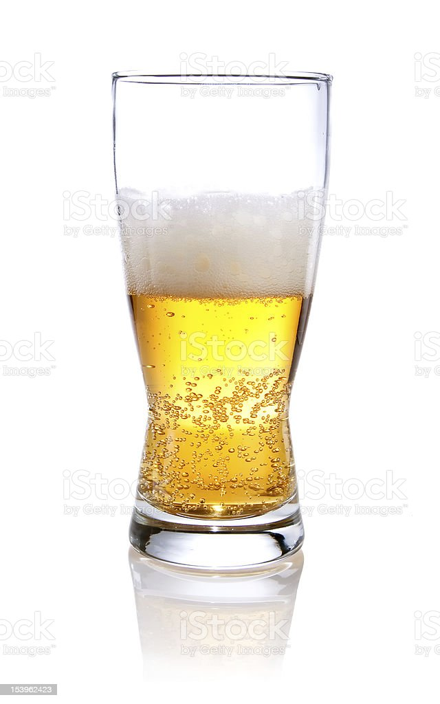 Half glass of beer on Isolated white background stock photo