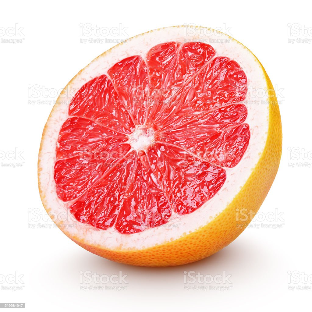 Half grapefruit citrus fruit isolated on white stock photo