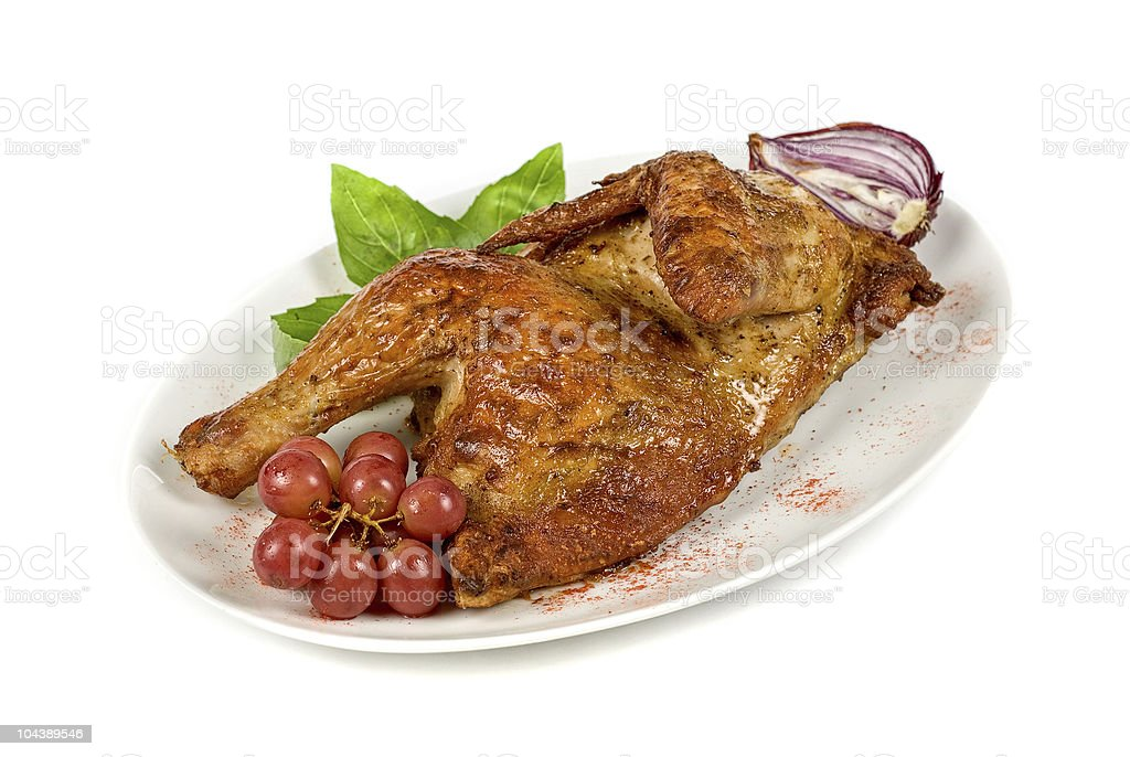 Half grilled chicken stock photo