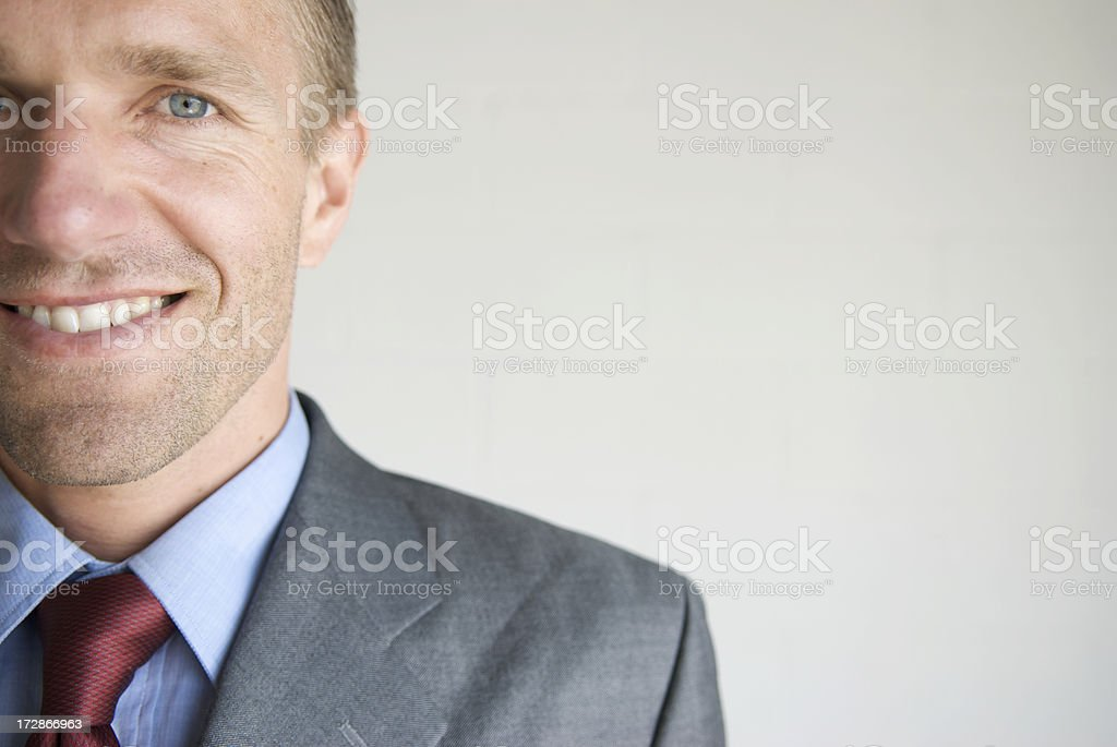 Half Happy Businessman Smiling Close-Up Portrait royalty-free stock photo