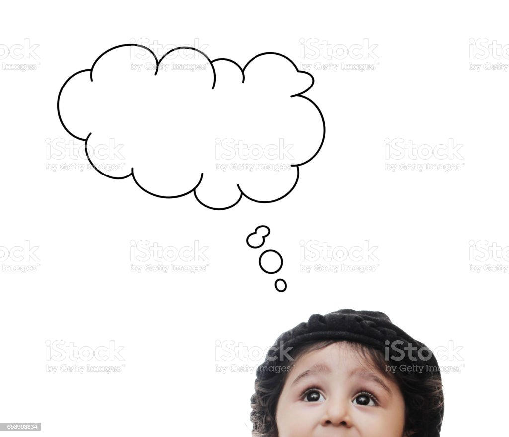Half head of adorable child with thinking Cloud While Standing stock photo