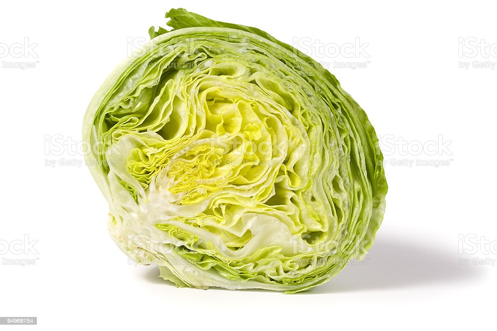 half iceberg lettuce stock photo
