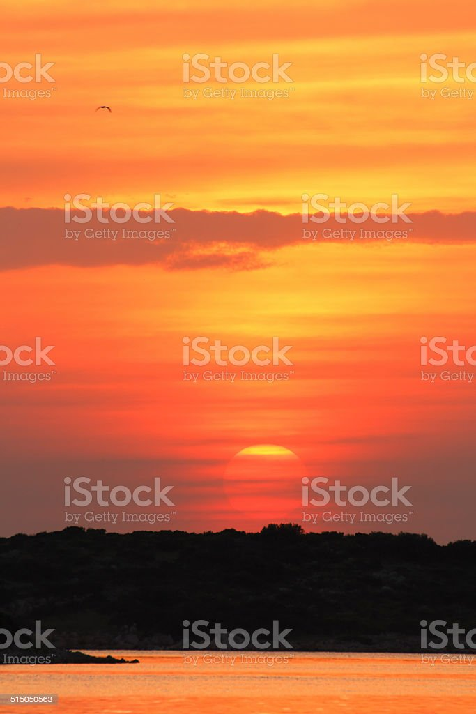 half inch to complete sunset stock photo