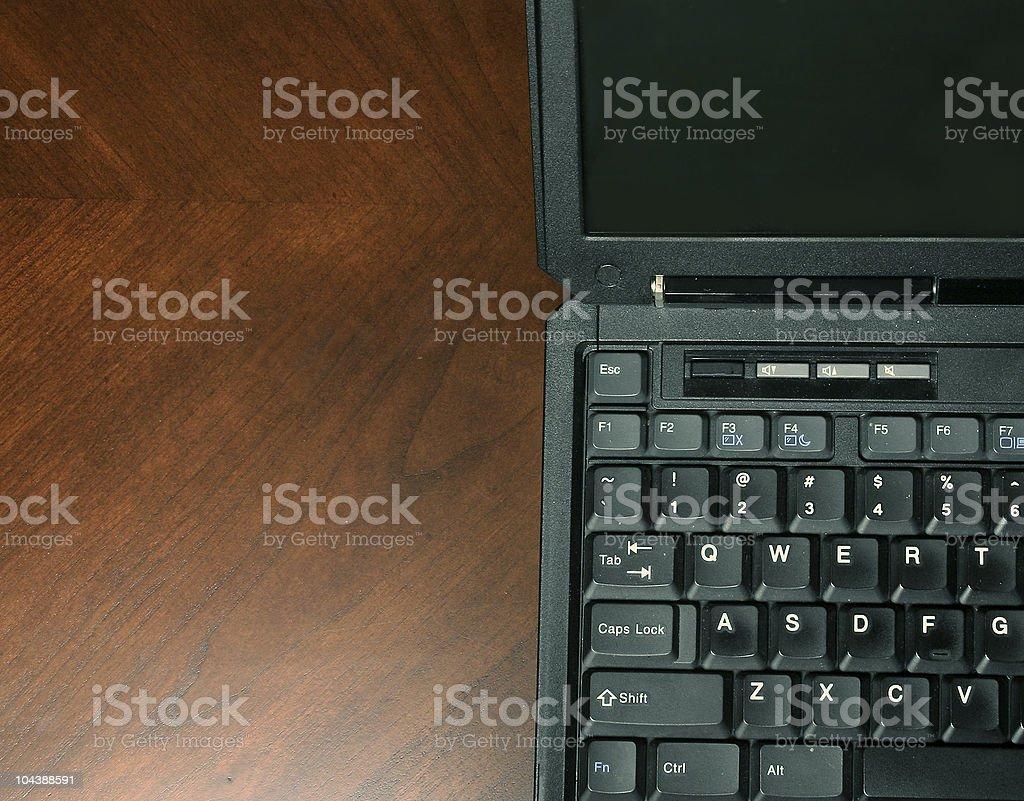 half laptop stock photo