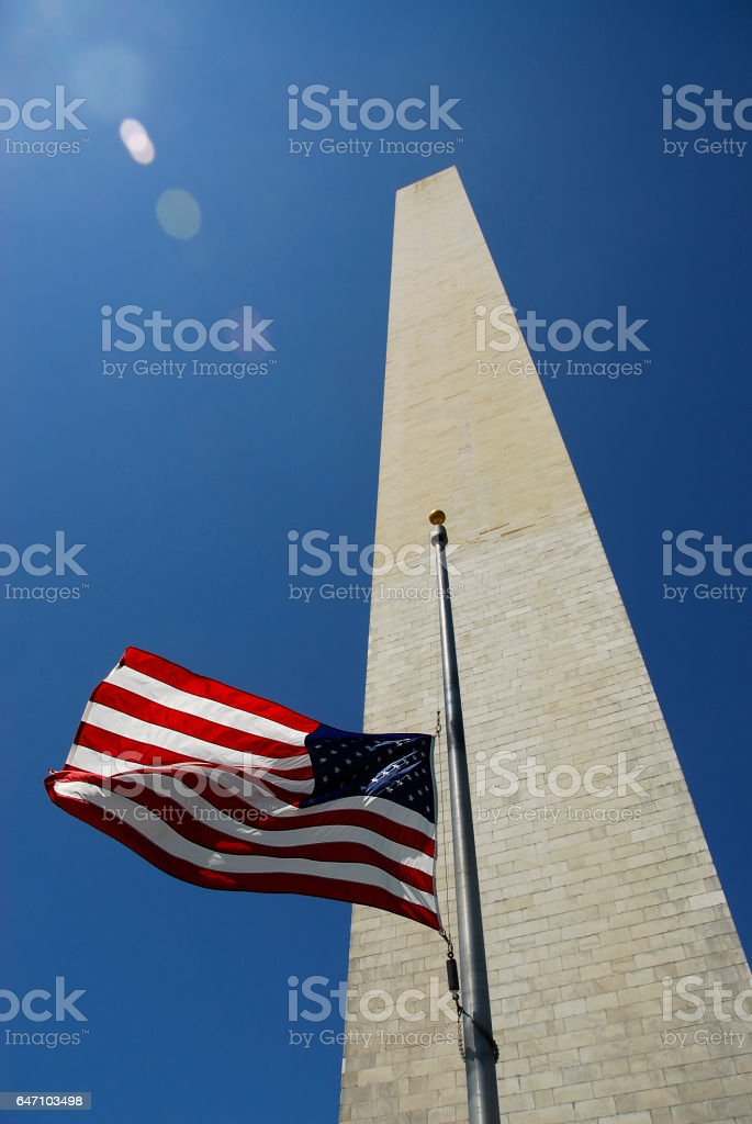 Half Mast flag in front of Washington Memorial stock photo