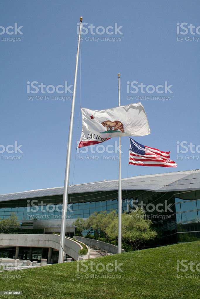 Half Mast Flags at Fresno City Hall stock photo