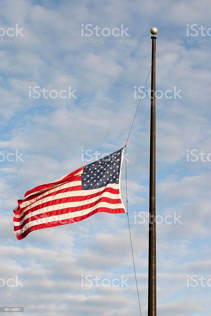 half mast US flag stock photo