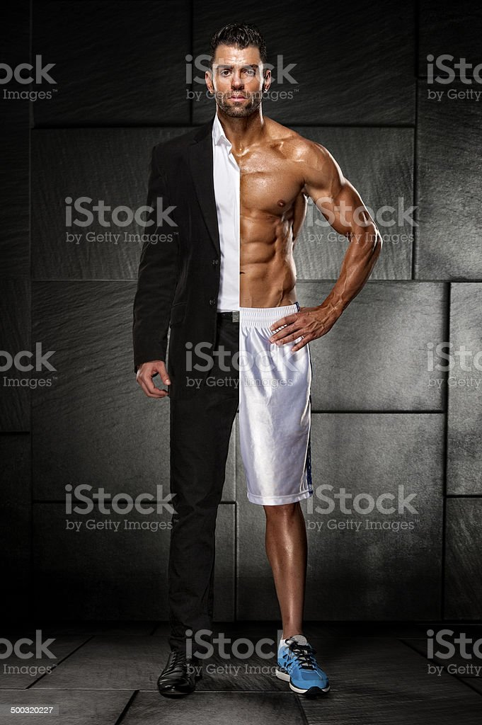 Half Men, half Superman stock photo
