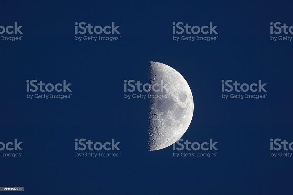 Half moon against blue night sky stock photo